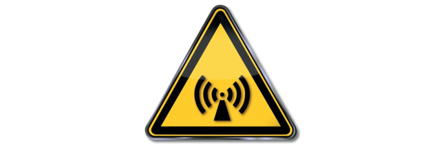Sign indicating risk of non-ionizing electromagnetic radiation