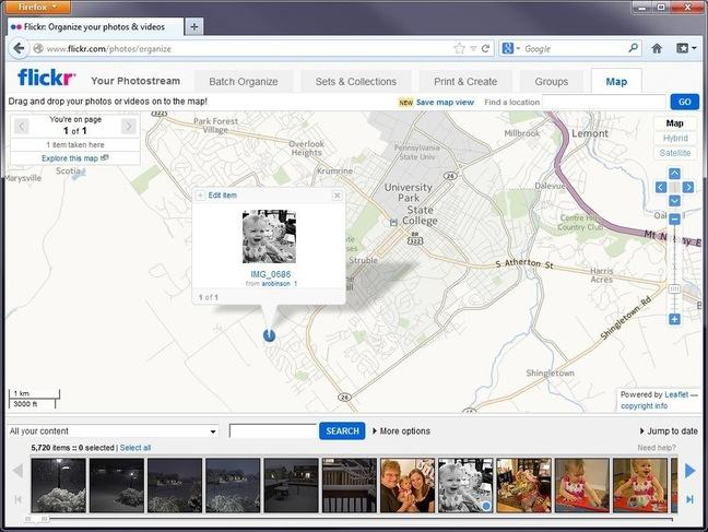 Screenshot of a Flickr map with a picture of Dr. Robinson's daughter crying