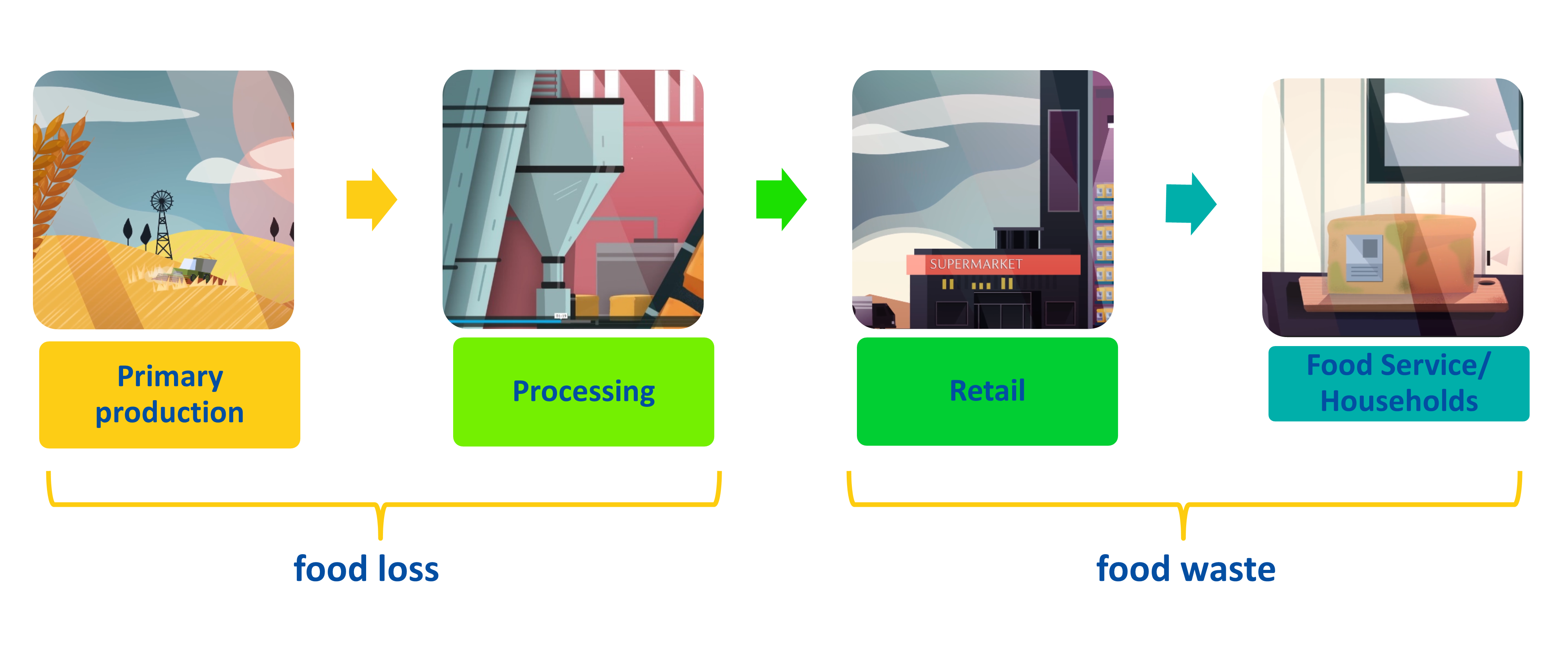 a simplified version of the food supply chain showing that food loss occurs during primary production and processing and food waste occurs at retail and food service/household levels