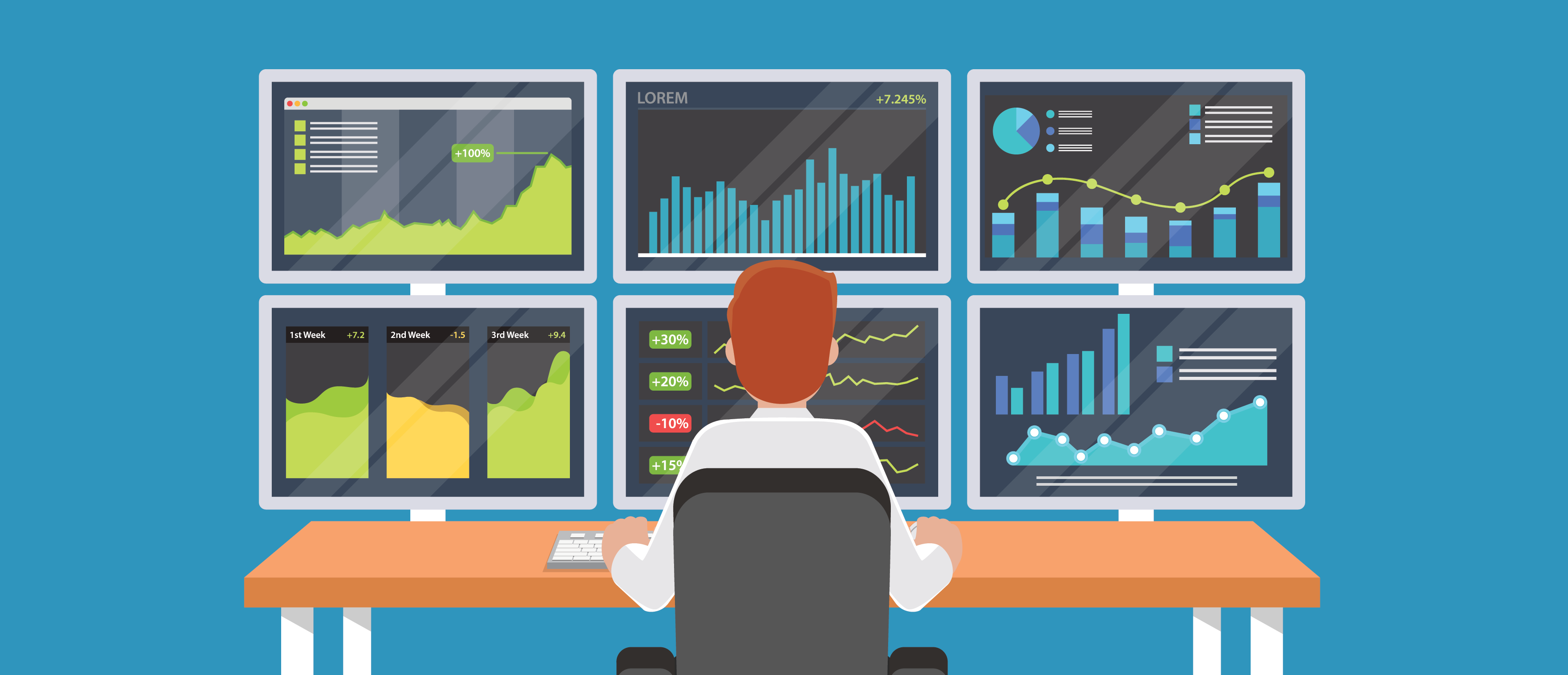 Businessman or stock market trader working at desk with multiple screens showing statistics