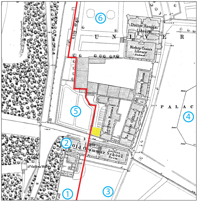 Location of archaeological  features and finds around the excavation site on the 185 Ordnance Survey plan of Durham City