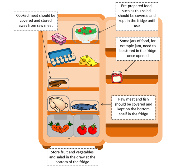 Cartoon image of fridge, with labels showing where food should be stored. Pre-prepared food (e.g. salad) on top, cooked meat should be covered and kept from raw meat, some food such as jam will need to be stored in fridge once opened, raw meat and fish should be covered and kept on bottom shelf, fruit and vegetables should be stored in the drawers at the bottom of the fridge.