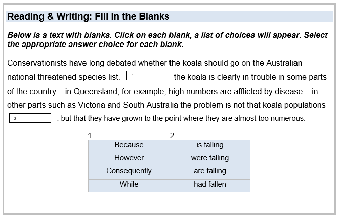 Reading & Writing: Fill in the Blanks Below is a text with blanks. Click on each blank, a list of choices will appear. Select the appropriate answer choice for each blank