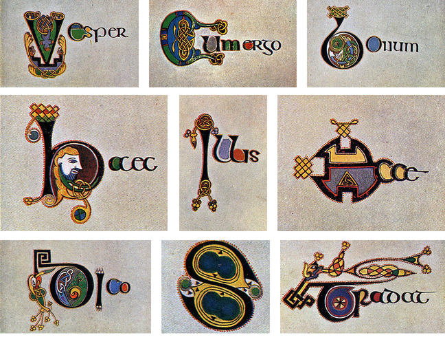 Figure 5 Letters drawn and painted by Helen Campbell d'Olier, as reproduced in Edward O'Sullivan's *The Book of Kells* (1914)
