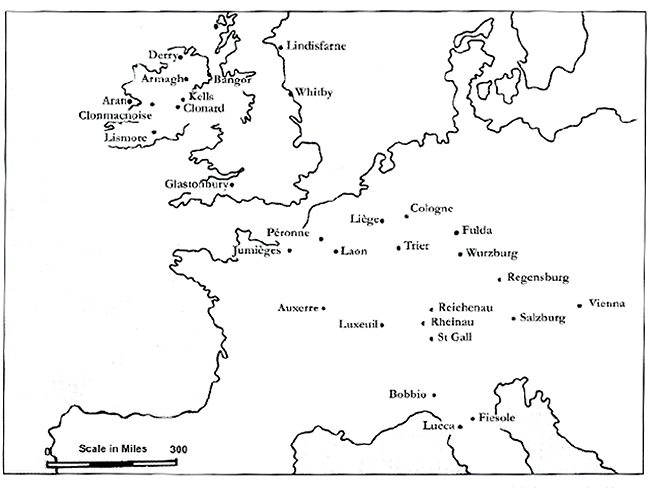 fig 2, a map of Irish monastaries in Europe