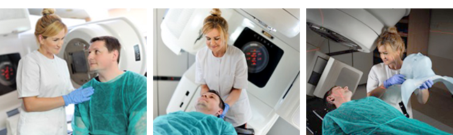 Series of images of radiation therapist helping patient during therapy