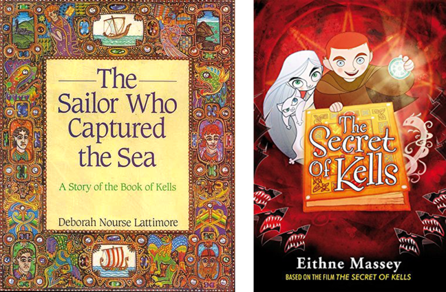 Figures 3-4 - book covers of Deborah Lattimore's, *The sailor who captured the sea: A story of the Book of Kells and Eithne Massey's book based on the film *The Secret of Kells* (O'Brien Press, 2009)