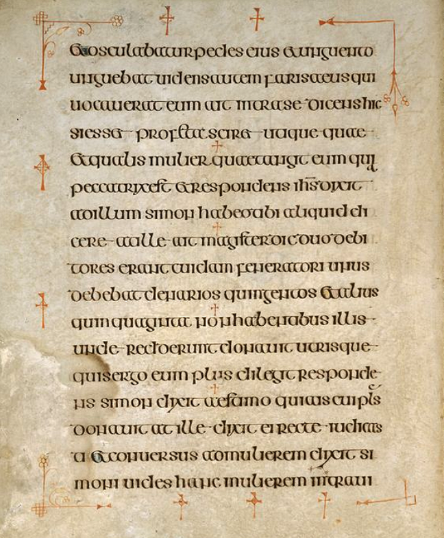 Figure 3, from the Book of Kells, a page of text framed by red crosses