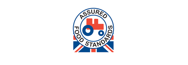 Red tractor logo is an image of a tractor coloured in white, red and blue with the wording assured food standards and the union jack flag as a backdrop under half the image