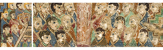 Figures 8 and 9, from the Book of Kells, faces in the crowd
