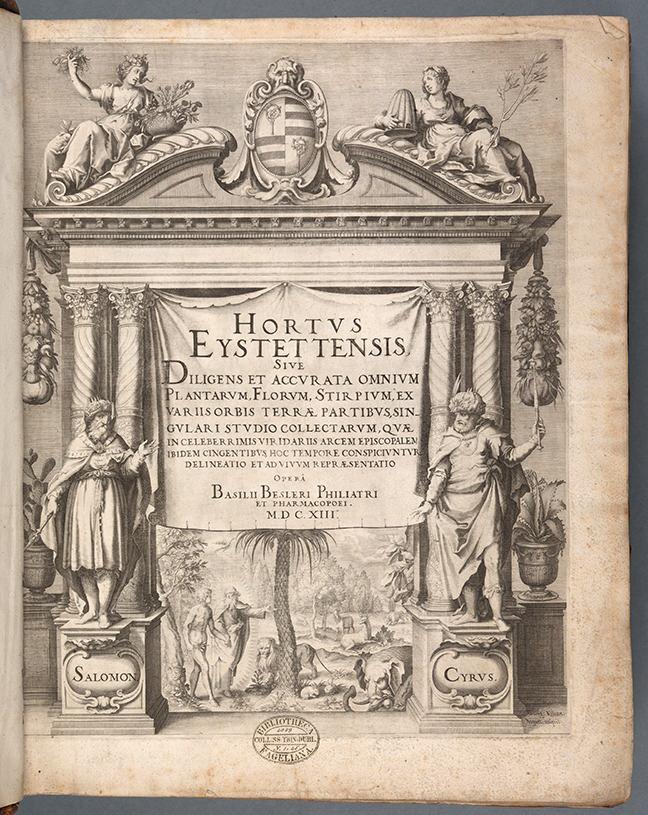 Basil Besler, *Hortus Eystettenis* ([Nuremberg], 1613), title page. [(Click to enlarge)](https://ugc.futurelearn.com/uploads/assets/c6/ed/c6ed6dc3-b428-4460-bfbf-6487a17cca28.png)