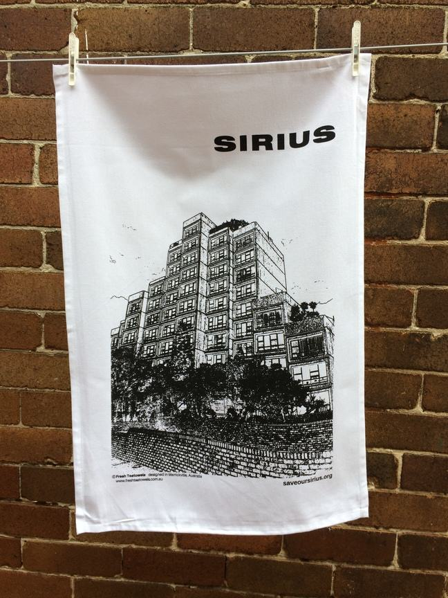 Tea towel featuring the Sirius building