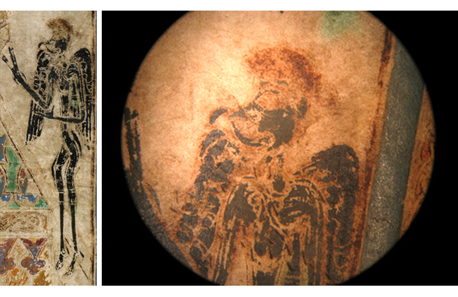 Figures 4 and 5, image of the Devil from the Book of Kells, and close-up of image, respectively