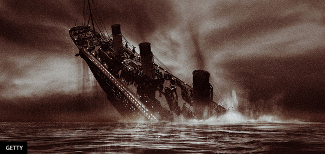 Digital illustration of the sinking RMS Titanic - Getty Images