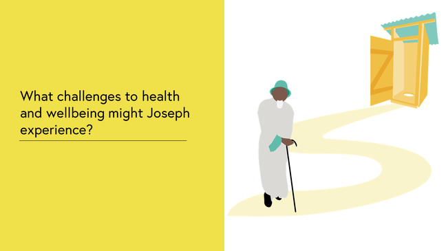 Case Study 3: Image shows Joseph standing by a path with his walking stick. The path leads to a free standing squat toilet outhouse in the distance