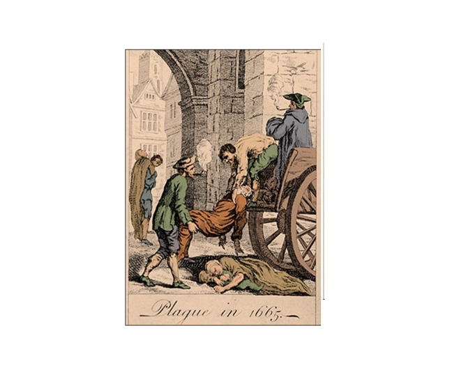 Drawing showing people lifting a man onto a wagon with the title 'Plague in 1665'