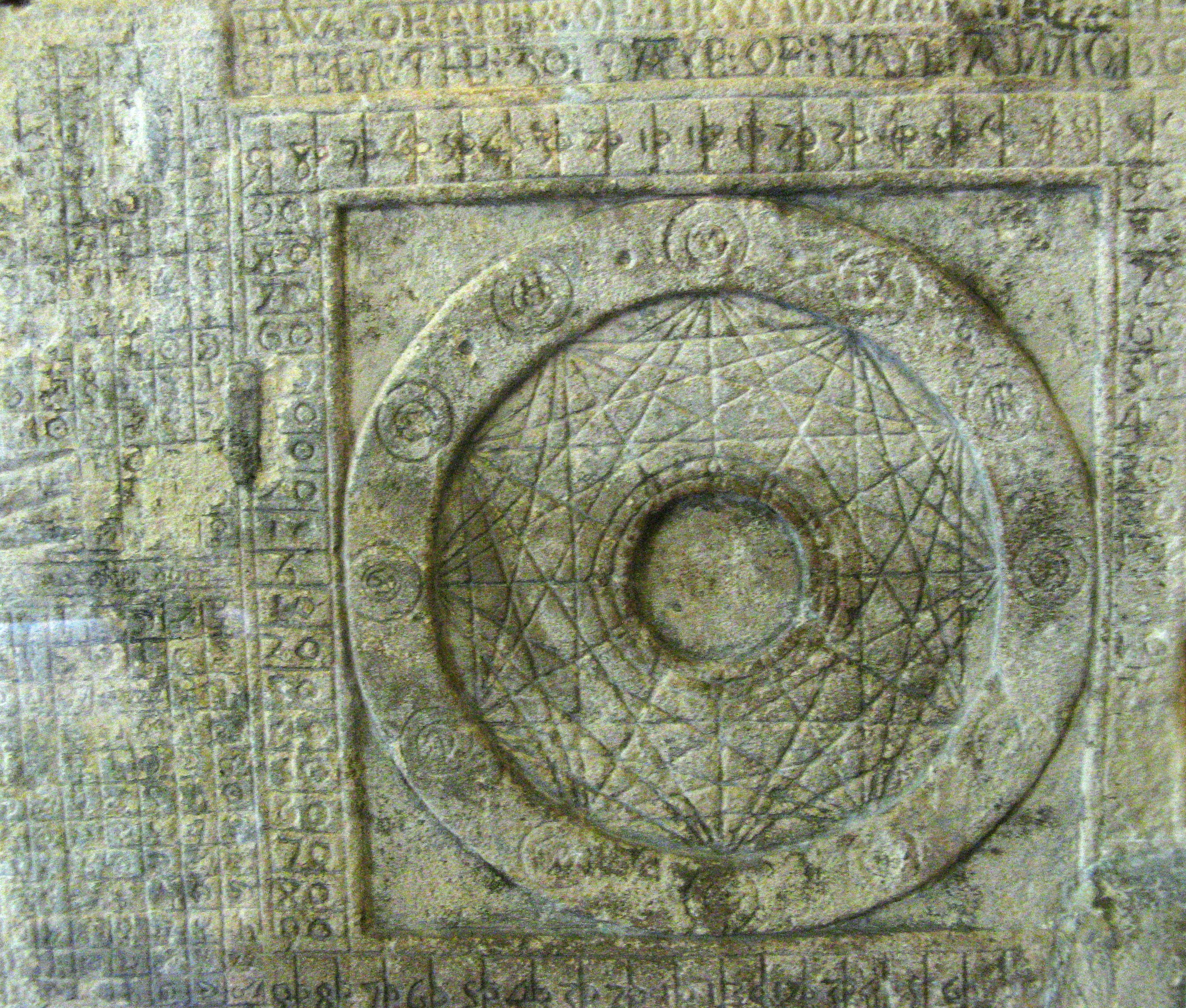 A photograph of Hew Draper's Astronomical Sphere, which has been carved into a stone wall in the Salt Tower