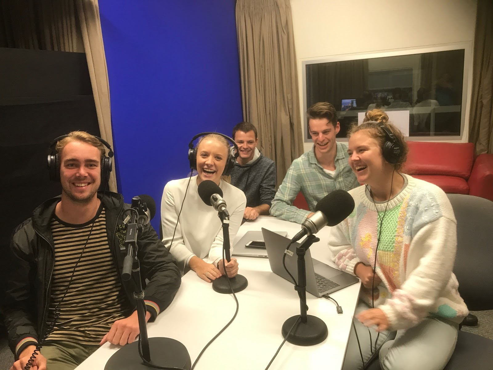 A group of UOW students making a podcast in Siobhan's course.
