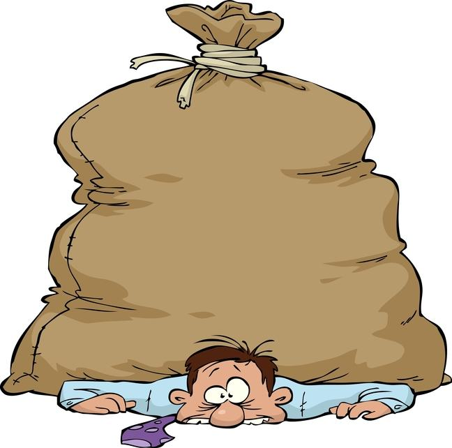 Drawing of a man on the floor with a huge bag over him weighing him down