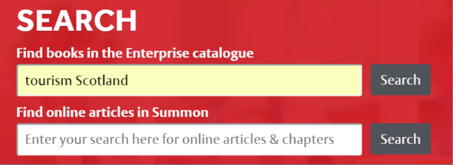 A screen shot of a search box that has two fields. The top reads 'find books in the Enterprise catalogue and the other field says 'find online articles in Summon'