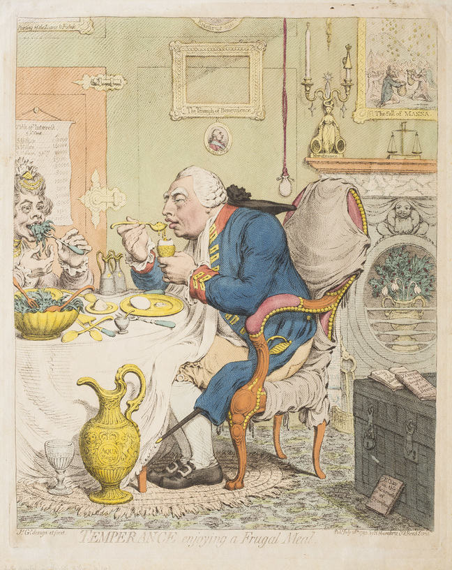 A cartoon print of King George and Queen Charlotte eating at a table