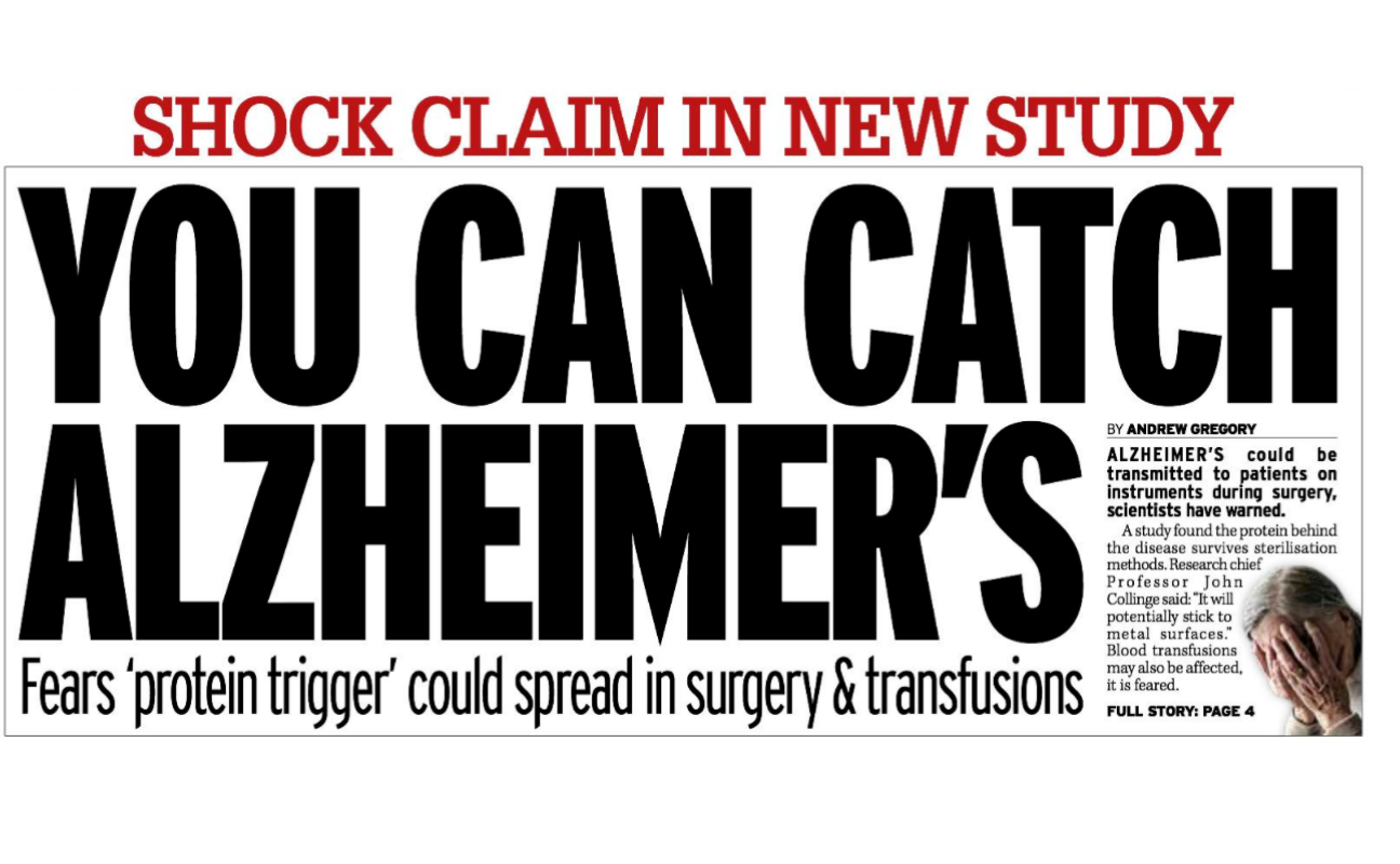 Newspaper headline reading 'you can catch Alzheimer's'