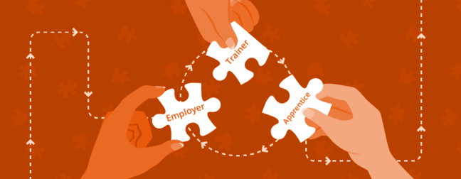 Employer, trainer and apprentice in a three-way jigsaw collaboration