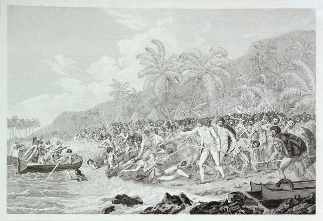 The Death of Captain Cook (untitled) shows black and white illustration with Cook on palm-fringed beach surrounded by Indigenous people some with spears and shield. Cook holds musket down adn appears to be signaling to the men in small boat near shore, which has a few men in
