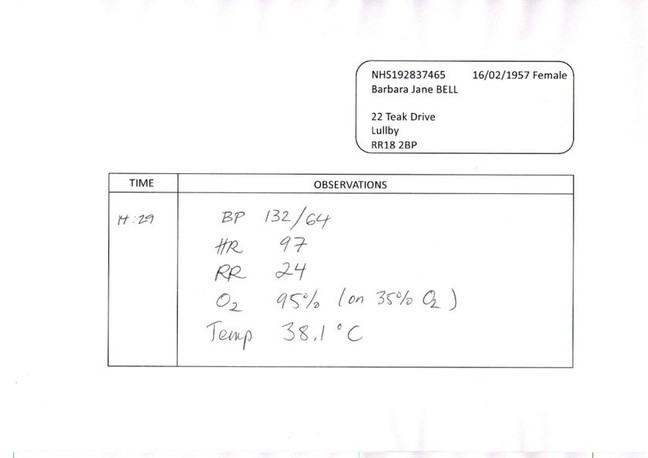 image of Mrs Bell's observation chart: BP 132/64, HR 97, RR 24, O2 95%, Temp 38.1
