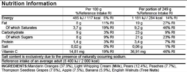 Nutritional information table > Per 100g, % Reference Intake RI Energy 485 kJ/117 kcal, 6%RI Fat 8g, 11% RI Of which saturates 3,7g, 19% RI Carbohydrate 9g, 3% RI Of which Sugars 8g, 9% RI Protein 1,4g, 3% RI Salt 0.02g, 0% RI Vitamin C 14,81g, 19% RI > Per portion of 249g, % Reference Intake RI Energy 1181 kJ/284 kcal, 14% RI Fat 19g, 27% RI Of which saturates 9,2g, 46% RI Carbohydrate 23g, 9% RI Of which Sugars 21g, 23% RI Protein 3,4g, 7% RI Salt 0,06g, 1% RI Vitamin C 36,91g, 46% RI > Salt content is exclusively due to the presence of naturally occurring sodium. Reference intake of an average adult (8400kJ/2000 kcal) > INGREDIENTS: Mandarin Oranges (37.9%), Light Whipping Cream (Milk), Pears (12.4%), Peaches (7.7%), Thompson Seedless Grapes (7.6%), Apple (7.5%), Banana (5.9%), English Walnuts (Tree Nuts)
