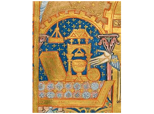 Fig 1, a page from the Book of Kells featuring objects displayed on an altar