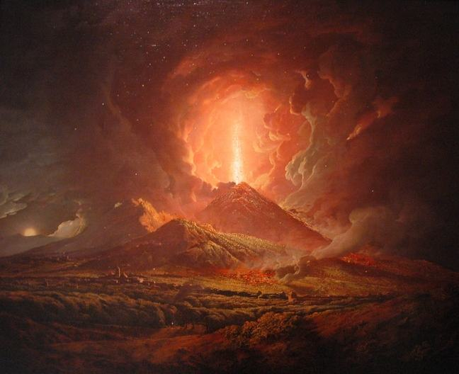 Artists impression of the eruption of Vesuvius, showing imposing clouds of ash and an explosion from the cone of the volcano