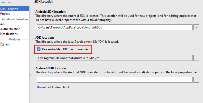 Project Structure Dialogue with 'Use Embedded JDK (Recommended)' check box highlighted