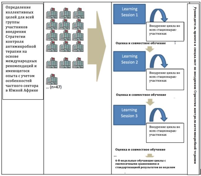 На этой схеме имеется три столбца.  В колонке 1 говорится, что совместный процесс определяет коллективные цели для управления антибиотиками в масштабах всей группы на основе международных руководящих принципов и передовой практики, адаптированных к условиям частного сектора Южной Африки.  Колонка 2 показывает, что это заявление относится к 47 больницам в Неткеар Групп (Netcare Group).  В третьей колонке показаны 3 учебных занятия в синих квадратах. .  Измерения и совместное обучение применялись на каждой из трех сессий.