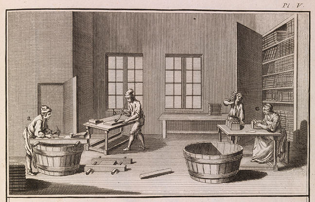 A finisher's shop in Denis Diderot, *Encyclopédie* (Paris, 1771), vol viii, plate 5. © The Board of Trinity College Dublin
