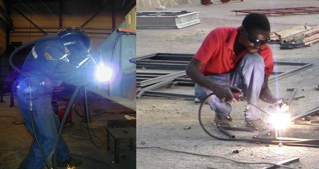 Welders with and without respiratory protection
