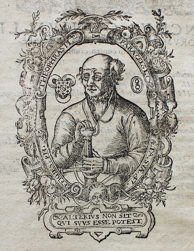 An image of Paracelsus, *Operum Medico-Chymicorum* (Frankfurt: 1605), iv, portrait at )( )(2v. © The Trustees of the Edward Worth Library, Dublin.