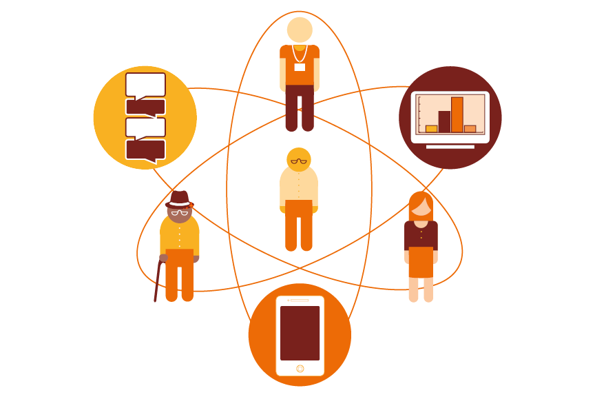 Illustration of a network of patients, medical professionals and devices