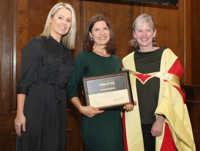 Elisa Markhoff from Pennsylvania, USA who won Second Prize in the Adult category in Art. Elisa is pictured with Sharon Ni Bheolain, competition ambassador (left) and Dr Rachel Moss, History of Art at Trinity.