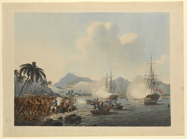 Coloured illustration of bay with two large ships off shore and several small boats. Confused scene on beach shows Cook in blue surrounded by Indigenous people, some advancing towards him as he turns to face them, musket in hand, as some crew in small boat facing them aim muskets