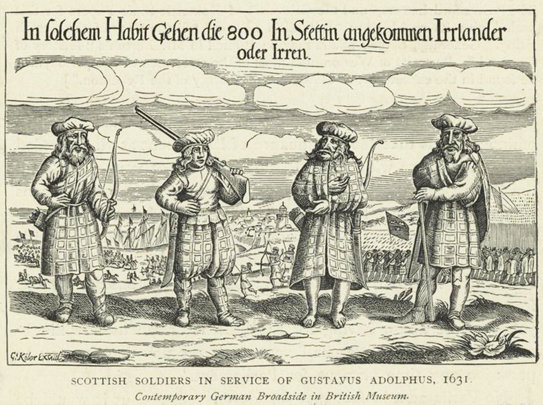 Print showing Scottish soldiers in the service of King Gustavus Adophus of Sweden in 1631