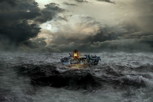 An image of a boat with a light on in the middle of a stormy sea