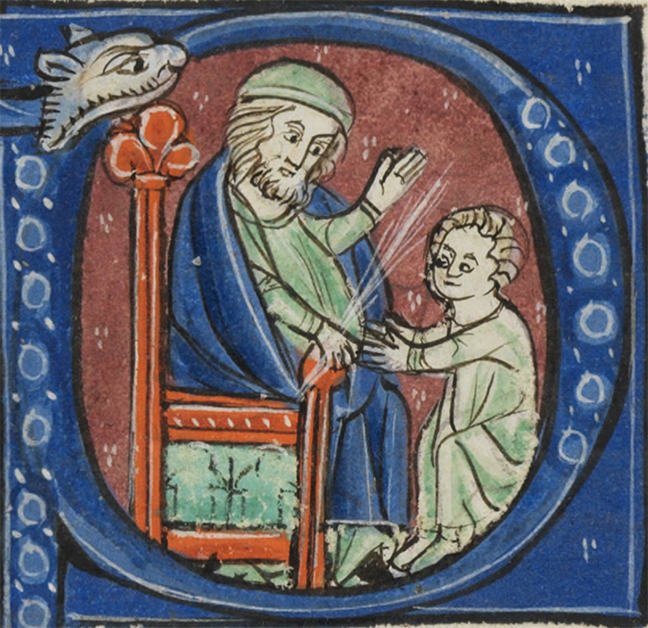 Man sitting and teaching a boy: a detail taken from an initial in a St. Gallen manuscript.