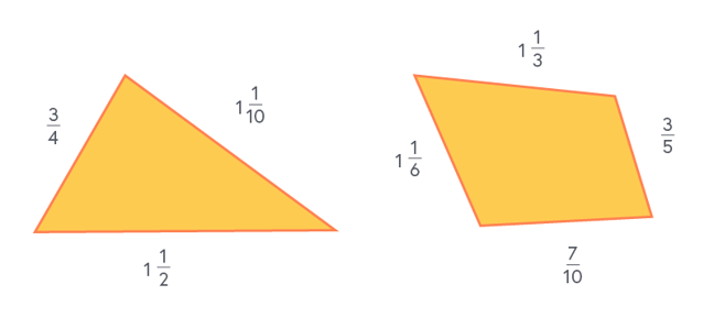 Triangle with sides three quarters, one and one half, one and one tenth. Quadrilateral with sides one and one sixth, one and one third, three fifths and seven tenths.
