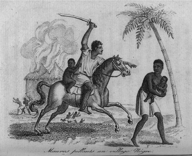 Illustration of Moors Plundering a Village for Slaves, Senegal, 1780s