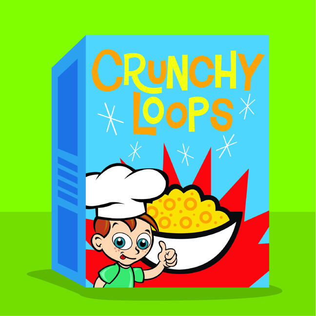 'Crunchy Loops' breakfast cereal displaying bright colours and cartoon character