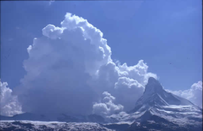 A photograph of an orographic cloud forming upstream of the Matterhorn