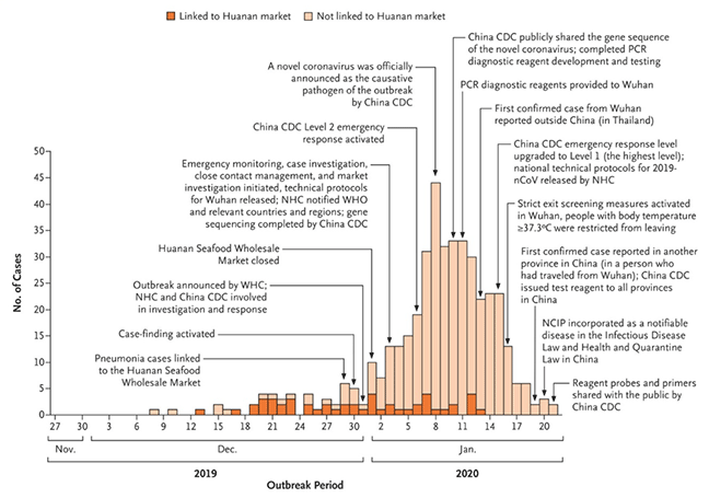 Bar chart showing increase in cases of COVID-19 over the first two months of the outbreak in Wuhan, with interventions taken.