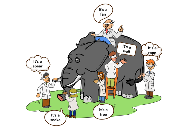 Image representing the metaphor of the blind men and the elephant