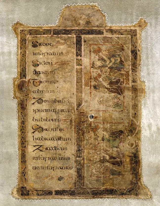 folio 1r the first page of the Book of Kells, a guide to Hebrew names